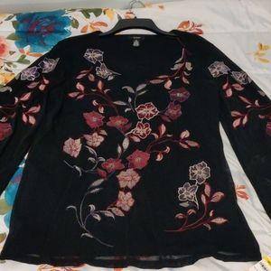 Beautiful Alfani black blouse with red flowers